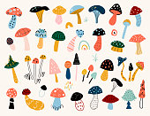Autumn mood. Hand drawn big vector set of various types of mushrooms. Colored trendy illustration.