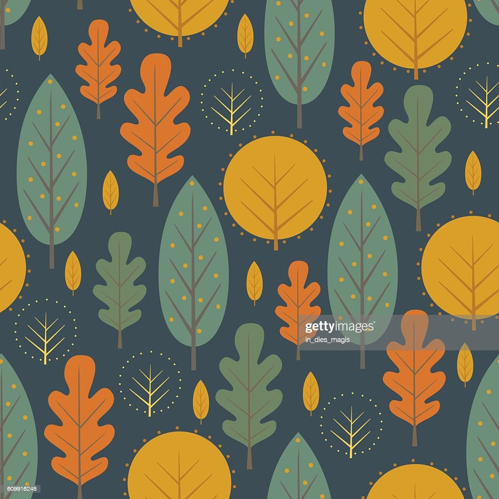 Autumn nature seamless pattern on dark blue background.