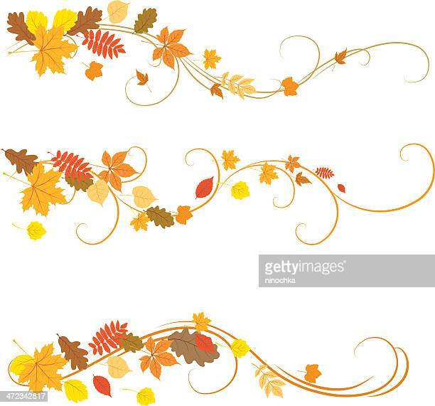 autumn ornaments illustrated on a white background - leaving stock illustrations