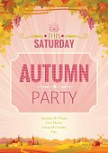 Autumn party poster. Fall Harvest festival invitation design, vector illustration