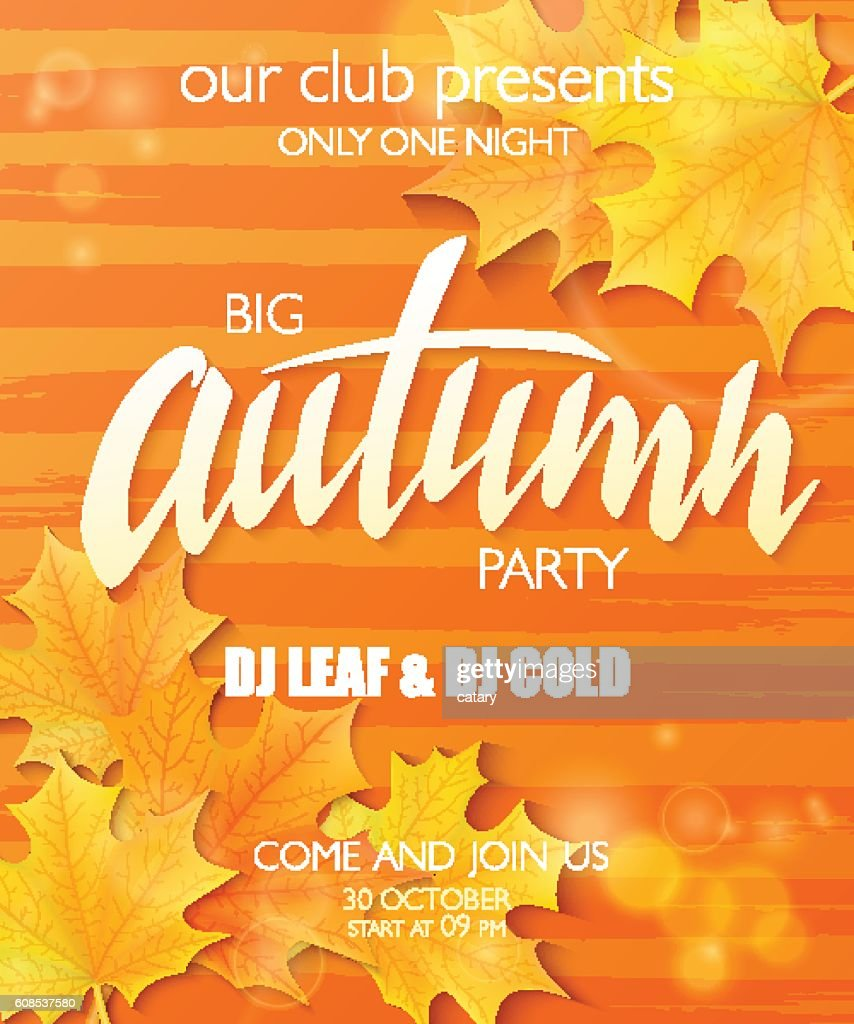 autumn party poster with lettering label, leaves