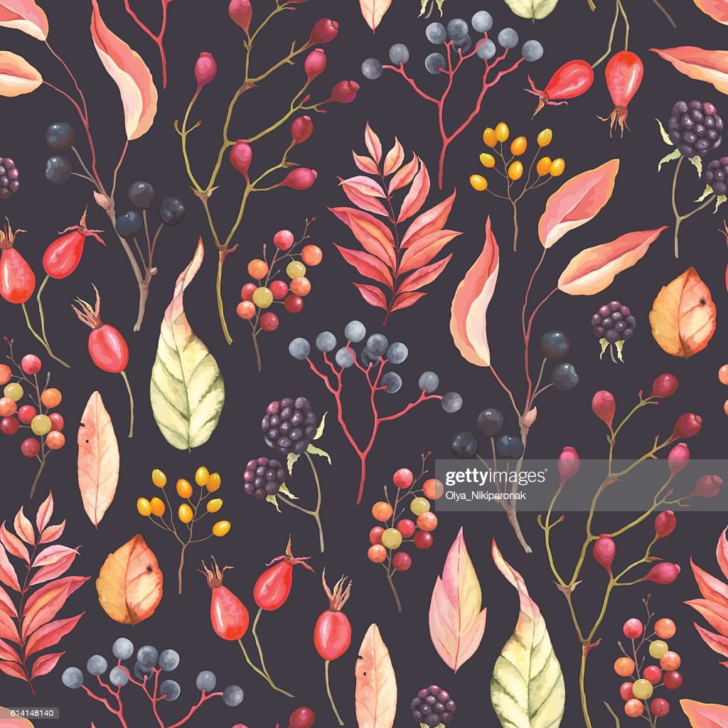 Autumn pattern with branches and berries, vector illustration.