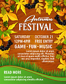 Autumn picnic music party festival vector poster