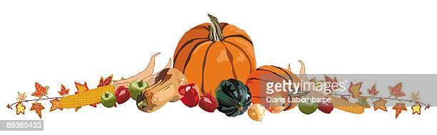 autumn pumpkin border - zea stock illustrations, clip art, cartoons, & icons