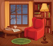 Autumn room interior. Vector illustration.