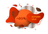 Autumn sale abstract shapes dynamic banner. Unique abstract graphic elements. Design template for presentation or flyer. Background with a gradient shape. Minimal mesh modern style composition. EPS10 vector.
