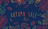 Autumn sale. Autumn leaves painted colored chalk.