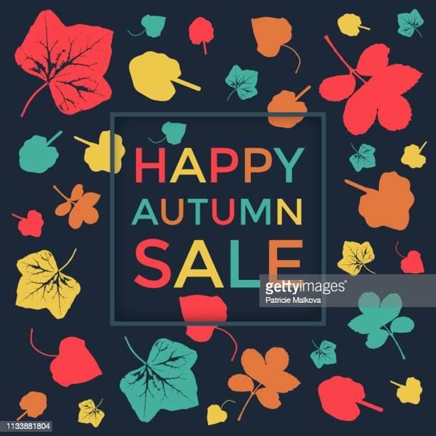 秋のセールの背景色鮮やかな葉、季節のポスター - オータムインターナショナル点のイラスト素材/クリップアート素材/マンガ素材/アイコン素材