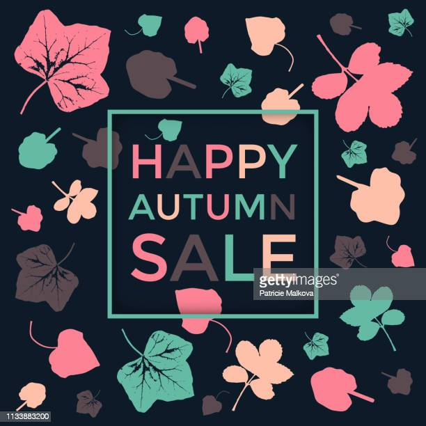Autumn sale background with colorful leaves, seasonal poster
