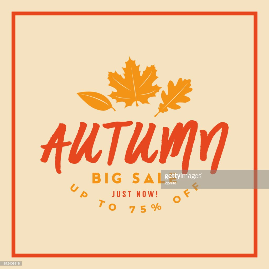 autumn sale badge discount season typography card banner poster