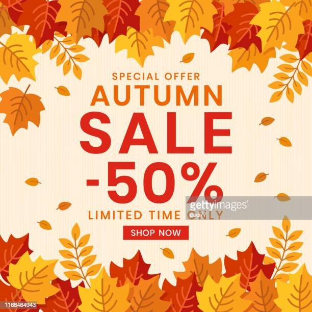 autumn sale banner background with leaves. - falling stock illustrations