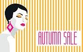 Autumn sale. Banner. Fashion girl. Bold, minimal style. Pop Art