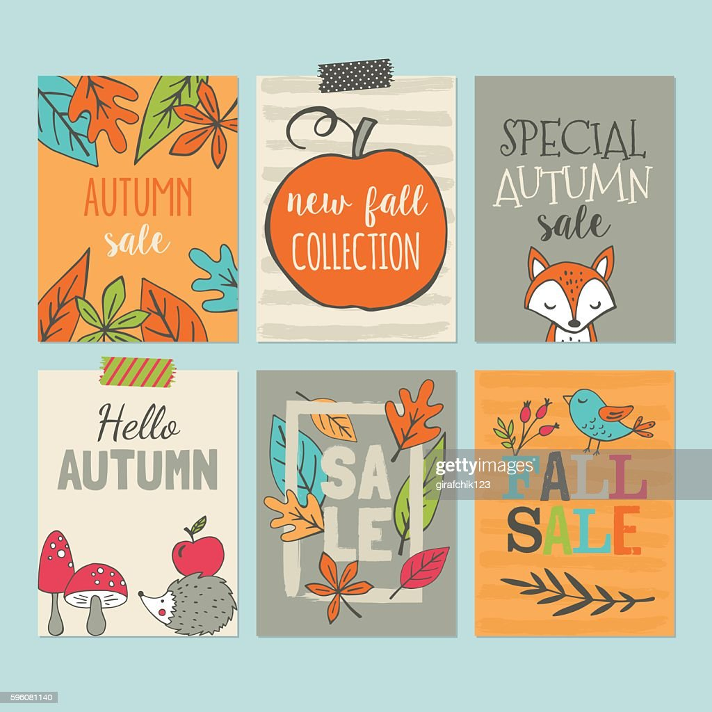 Autumn sale banner set with hand drawing elements
