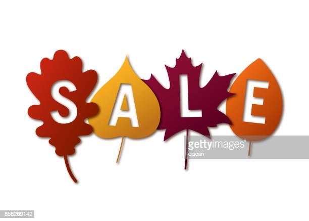 autumn sale banner with colorful leaves. - november stock illustrations