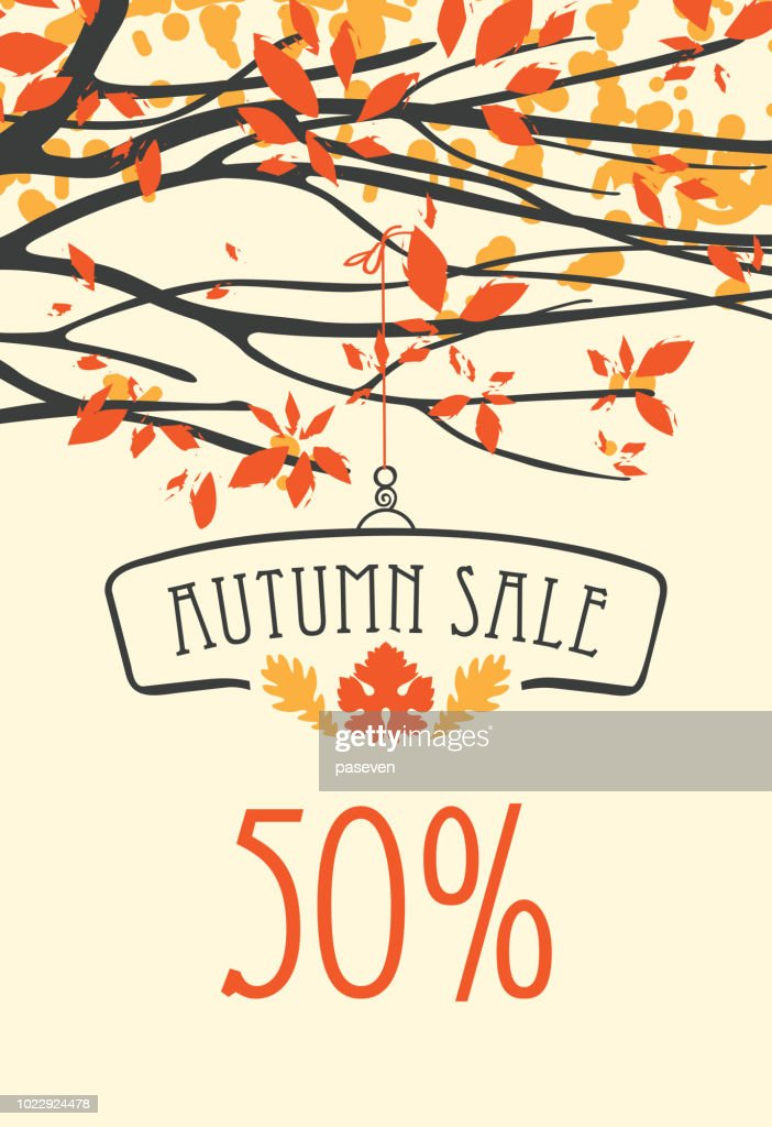 Autumn sale banner with inscription and branches