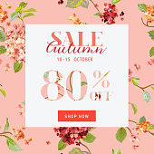 Autumn Sale Floral Hortensia Banner Discount Poster, Fashion Sale