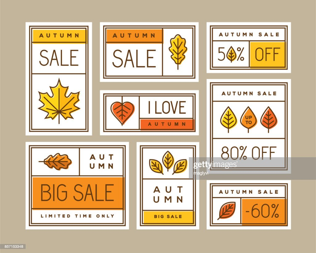 Autumn sale labels, stickers, tags and banners set.