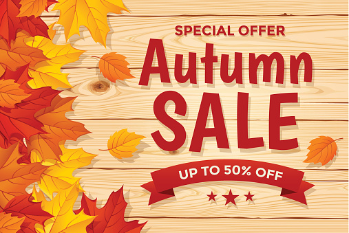 Autumn Sale on wood background with Leaf - gettyimageskorea