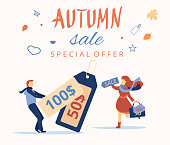 Autumn sale. Promo poster with people and tags.
