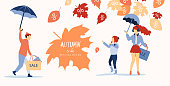 Autumn sale. Promo poster with people doing shopping and leaves.