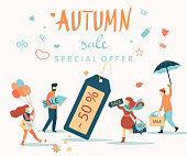 Autumn sale. Promo poster with people doing shopping.