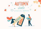 Autumn sale. Promotion poster with people and tags.