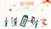 Autumn sale. Promotion poster with people cut price tag.
