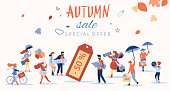 Autumn sale. Promotion poster with people doing shopping.