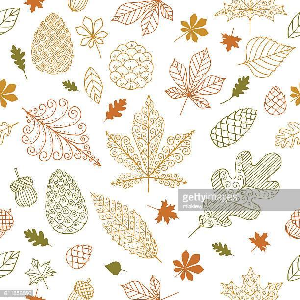 autumn seamless pattern - pine cone stock illustrations, clip art, cartoons, & icons