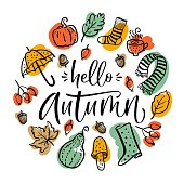 Autumn set, hand drawn elements- calligraphy, pumpkin, leaves, boots and others. Vector illustration.