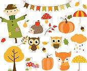 Autumn set of design elements and cartoon animals
