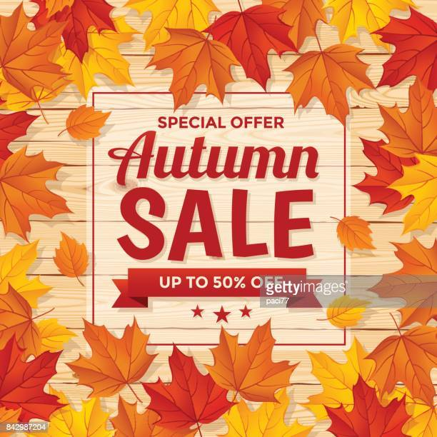 Autumn Special Sale on wood background