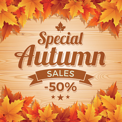 Autumn Special Sales on wood background - gettyimageskorea