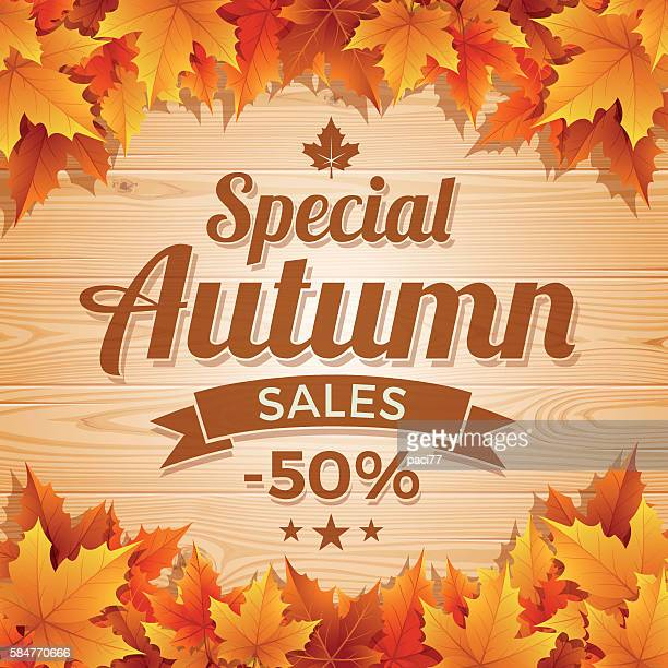 Autumn Special Sales on wood background