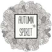 Autumn spirit background. Circle leaf ornament.
