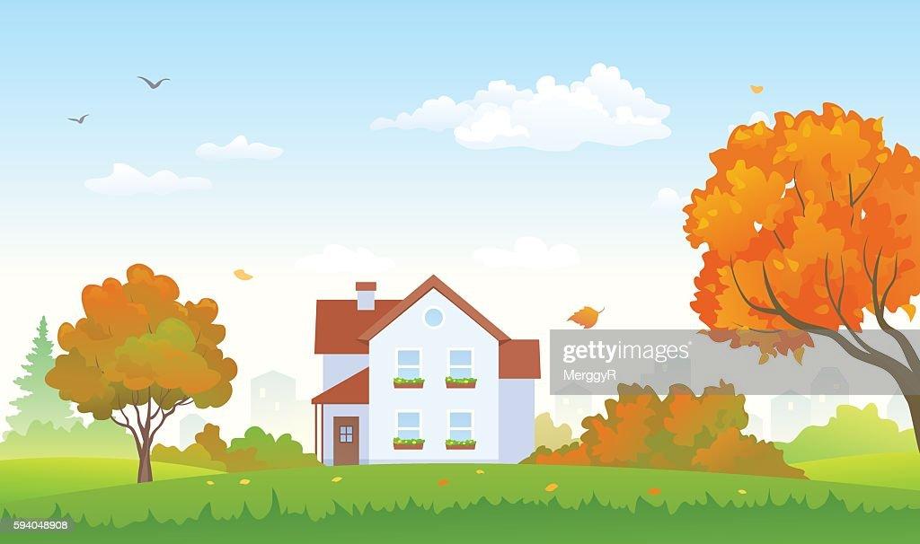 Autumn suburban house