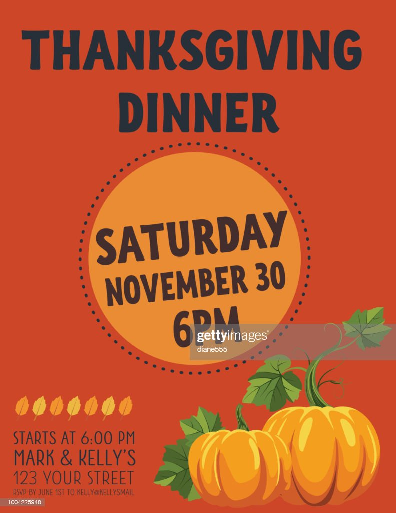 autumn thanksgiving dinner invitation template vector art getty images