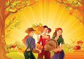 Autumn thanksgiving landscape. Cartoon farmer girls. Harvest vector illustration