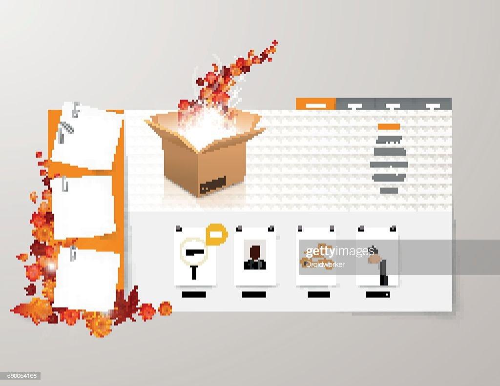 Autumn Theme Creative Website Template. Vector.