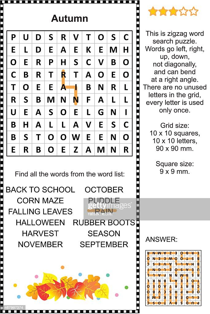 Autumn themed wordsearch puzzle