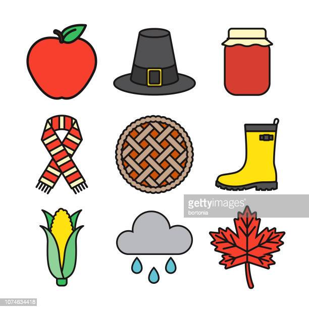 autumn thin line icon set - pastry lattice stock illustrations, clip art, cartoons, & icons