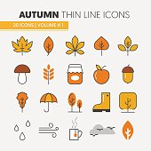 Autumn Thin Line Icons with Umbrella Rainy Weather