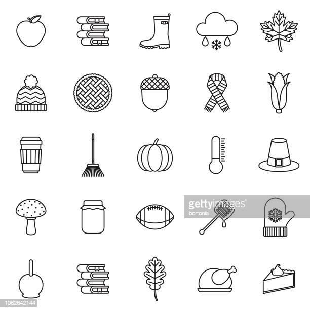 illustrazioni stock, clip art, cartoni animati e icone di tendenza di autumn thin line outline icon set - stagione