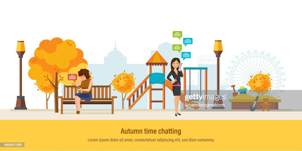 Autumn time. Autumn city park. Girl resting in park
