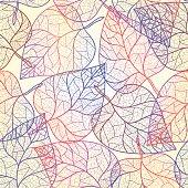 Autumn transparent leaves pattern background.