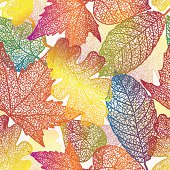 Autumn transparent maple leaves pattern background. Fabric texture.