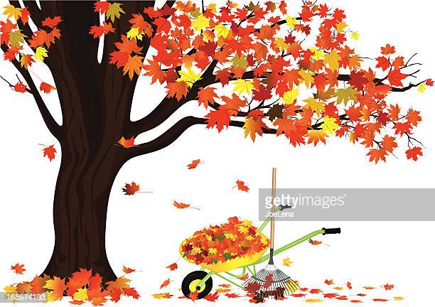 autumn tree and a wagon full of leaves - raking leaves stock illustrations, clip art, cartoons, & icons