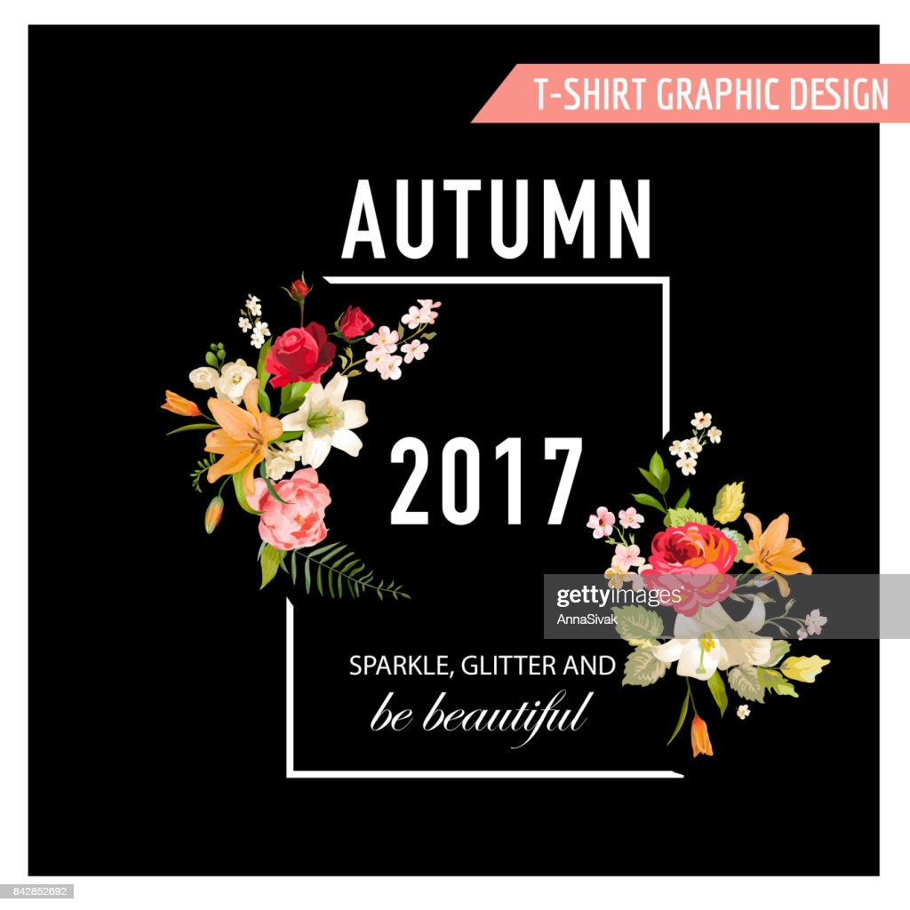Autumn tshirt floral design with lily flowers and orchids romance autumn t shirt floral design with lily flowers and orchids romance nature background in vector izmirmasajfo