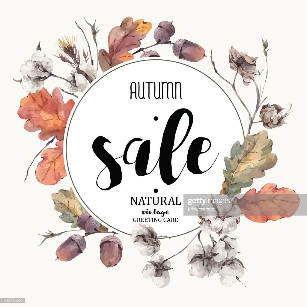 Autumn vector vintage cotton flower, sale card