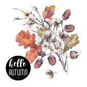 Autumn vector vintage cotton flower